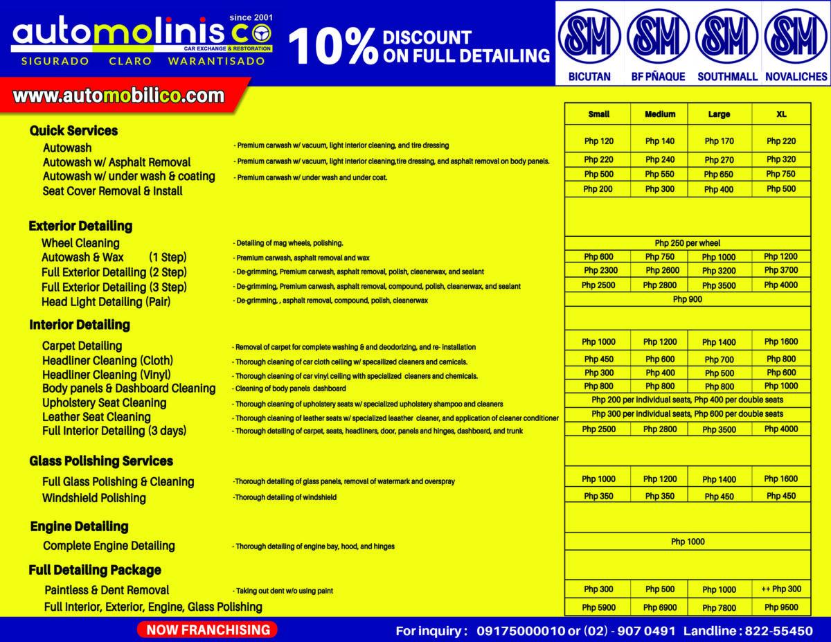 Automolinisco Service List and Pricing